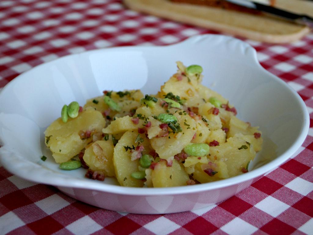 Kartoffelsalat mit grünen Bohnen und Speck in weißer Steinzeug Schüssel auf rot karierter Tischdecke